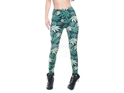 LEG-001 Damen Motiv Leggings Design:Weed Hanf Cannabis Farbe: schwarz