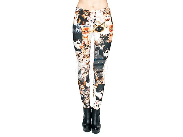 LEG-003 Damen Motiv Leggings Design:Katzen Farbe: multicolor