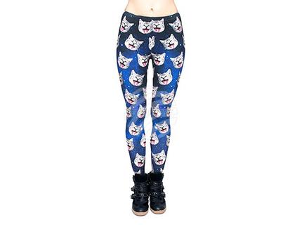 LEG-021 Damen Motiv Leggings Design:Katzen Farbe: blau