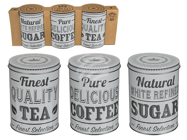 101930 Runde Metall-Dose, Coffee, Tea & Sugar, ca. 14 x 10 cm, 3er Set in Kartonverpackung (Setpreis), 156/PAL