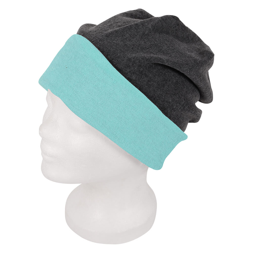 SM-191 Long Beanie, Slouch Farbe: anthrazit / mint Design: 2-farbig, Wende Design