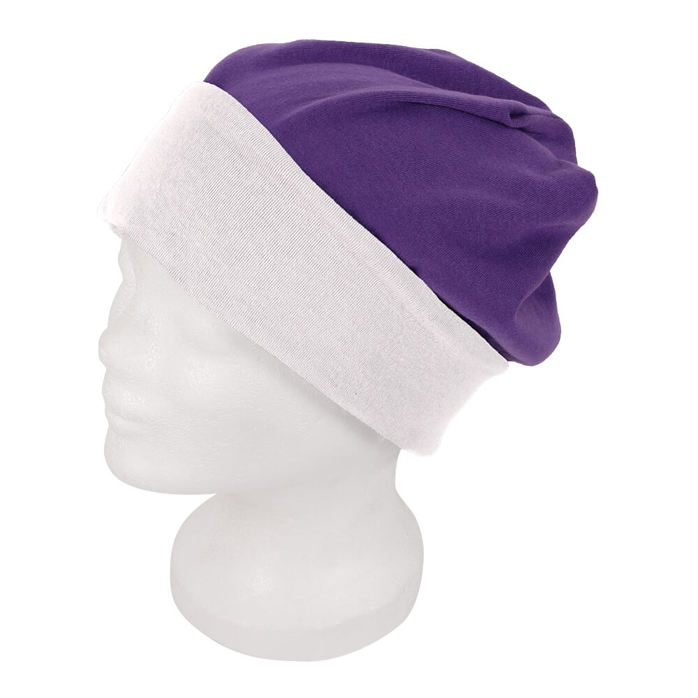 SM-194 Long Beanie, Slouch Farbe: lila / weiss Design: 2-farbig, Wende Design