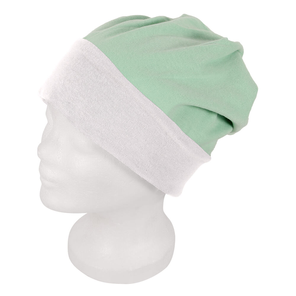 SM-195 Long Beanie, Slouch Farbe: weiss / mint Design: 2-farbig, Wende Design