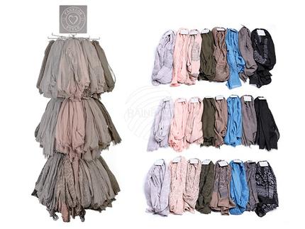 02-4052 Schal, Autumn Collection I, 30% Baumwolle & 70% Polyester, ca. 90 g, ca. 180 x 70 cm, 3-fach & 8-farbig sortiert, mit Haken zum Aufhängen, 192 Stück auf Displayständer