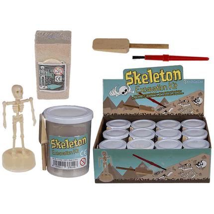 11-2026 Ausgrabungsset, Skelett, ca. 6,5 cm, 12 Stück im Display, 3072/PAL