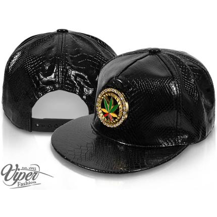 CAP-124 Snapback Flatbrim Cap  Luxury Weed  Farbe: schwarz mit 3D Emblem