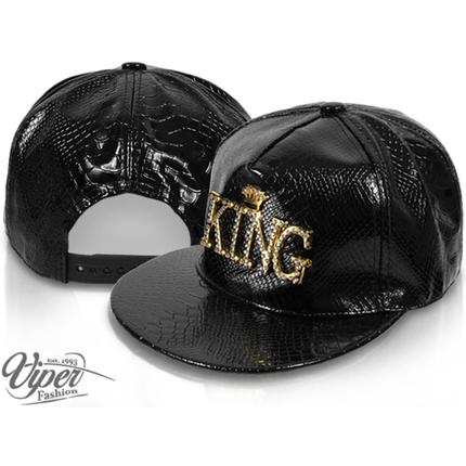 CAP-126 Snapback Flatbrim Cap  Luxury King  Farbe: schwarz mit 3D Emblem