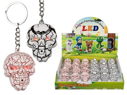 57-9661 Metall-Schlüsselanhänger, Skull mit Sound & LED (inkl. Batterien) ca. 5,5 cm, 2-farbig sortiert, 24 Stück im Display