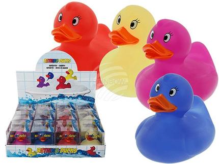 20-1093 Farbwechselnde Badeente, Magic Duck (reagiert auf Wärme) ca. 10 x 9 cm, 4-farbig sortiert, in PVC-Box, 12 Stück im Display, 864/PAL