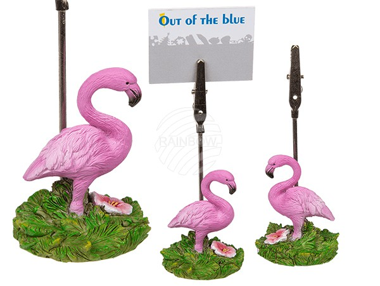 144172 Kartenhalter, Polyresin-Flamingo, ca. 10 x 3 cm, 2-fach sortiert
