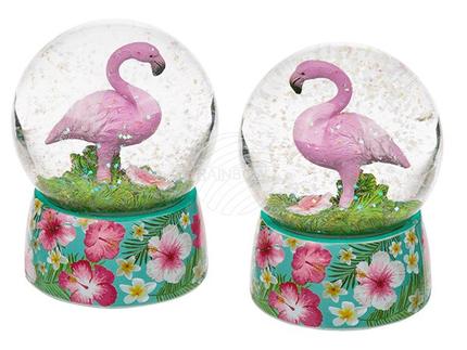 144173 Polyresin-Glitterkugel, Flamingo, auf Sockel mit Blumenmotiv, ca. 8,5 x 6,5 cm, 2-fach sortiert,