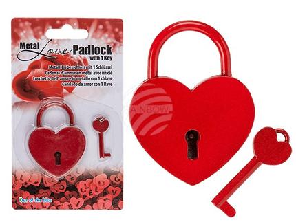 62-3964 Metall-Liebesschloss mit 1 Schlüssel, Herz, ca. 6 cm, auf Blisterkarte