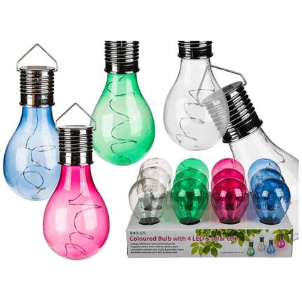 260059 Farbige Kunststoff-Glühbirne mit Solarzelle & 4 warmweißen LED, ca. 8 x 15 cm, 4-farbig sortiert, zum Aufhängen, 12 Stück im Display