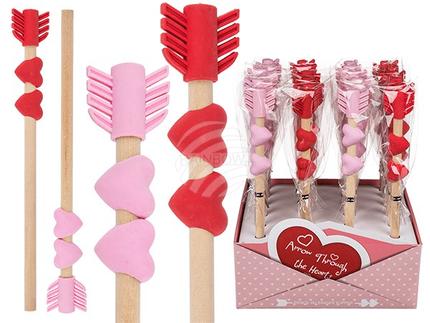 29-3080 Bleistift mit Radiergummi, Heart & Arrow, 2-farbig sortiert, 24 Stück im Display