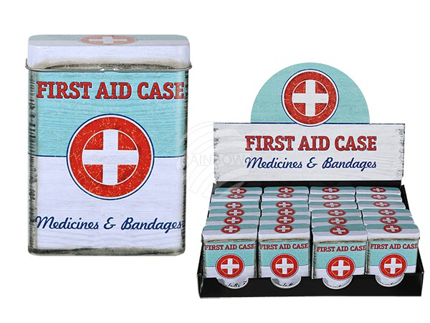 101934 Rechteckige Metall-Dose, Vintage, First aid case, ca. 9,5 x 7 cm, 24 Stück im Display