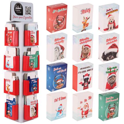 ZB-028 Display für Zigarettenhüllen aus Pappe Ausstattung: 4 Schachtelgrößen L, XL, XXL und LONG (100-er) Größe: 12 Motive á 3 Schachteln je Größe (144 Schachteln) Thema: Weihnachten