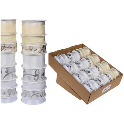 180484 Weiß & cremefarbenes Schleifenband mit Ringen, ca. 40 mm x 2m (12 Rollen) 25 mm x 3 m (16 Rollen) 15 mm x 4 m (4 Rollen) 8-fach sortiert, 32 Rollen im Aufsteller, 4608/PAL