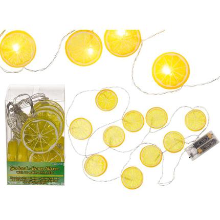 260052 Lichterkette, Zitronenscheiben, mit 10 warmweißen LED, ca. 5 cm, L: ca. 1,30 m, für 2 Mignon Batterien (AA) in PVC-Box