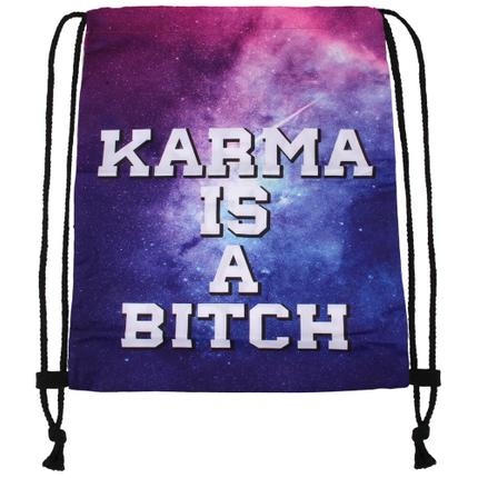 RU-x218b Gymbag Gymsac Design: Karma is a bitch Farbe: lila blau weiss