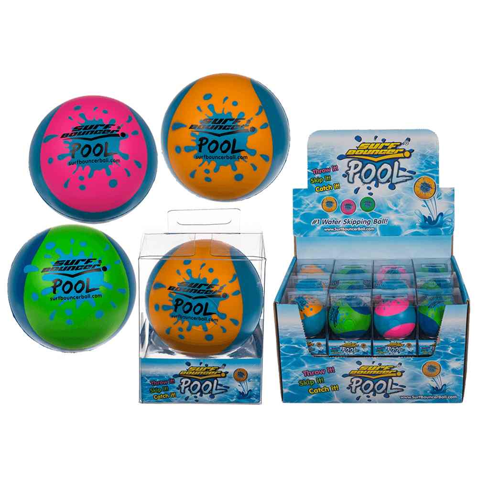 12-0950 Soft-Springball, Surf Bouncer - Pool, ca. 7 cm, 3-farbig sortiert, in PVC-Box, 24 Stück im Display, 1728/PAL