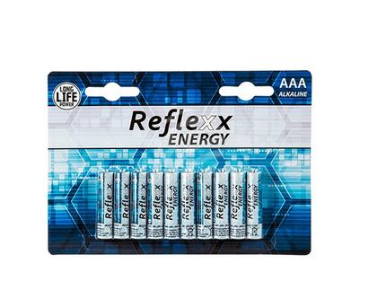 96-2008 Alkaline Micro Batterie, Reflexx, AAA, 1,5V, 10 Stück auf Blisterkarte