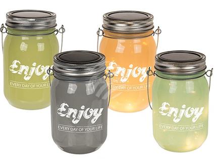 137156 Deko-Einmachglas, Enjoy every day of your life, mit Solarzelle & 10 warmweißen LED, 4-farbig sortiert, ca. 8,5 x 13 cm