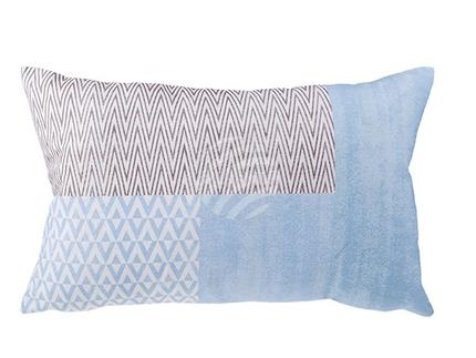 190252 Blau/graufarbenes Kissen mit Reissverschluss, 60% Polyester & 40% Baumwolle, ca. 30 x 50 cm, vakuumverpackt