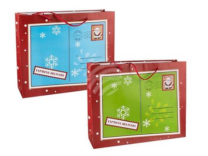 960147 Papier-Geschenktüte, Weihnachts-Briefumschlag, ca. 32 x 26 cm, 2-fach sortiert, 12 Stück im Polybeutel, 3840/PAL