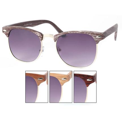 V-1331 VIPER Damen und Herren Sonnenbrille Vintage Retro Rahmen in Holzoptik, Applikation am Rahmen