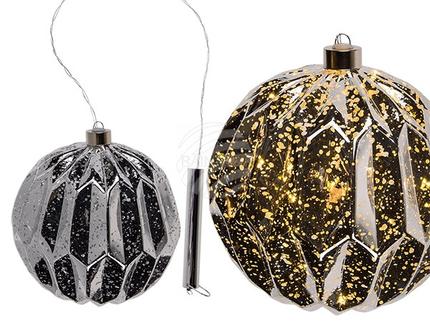 260083 Glas-Kugel mit 8 warmweißen LED, ca. 12 cm, zum Aufhängen, für 2 Micro Batterien (AAA) in Geschenkpackung