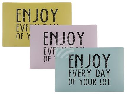 145225 Polypropylen-Tischset, Enjoy every day of your life, ca. 44 x 30 cm, 3 farbig sortiert, 12 Stück im Polybeutel, 7200/PAL