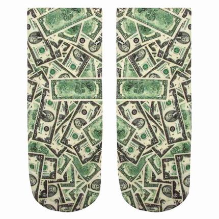SO-L004 Motiv Socken Dollar weiss grün