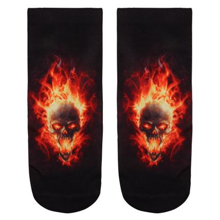 SO-L011 Motiv Socken Brennender Schädel schwarz orange