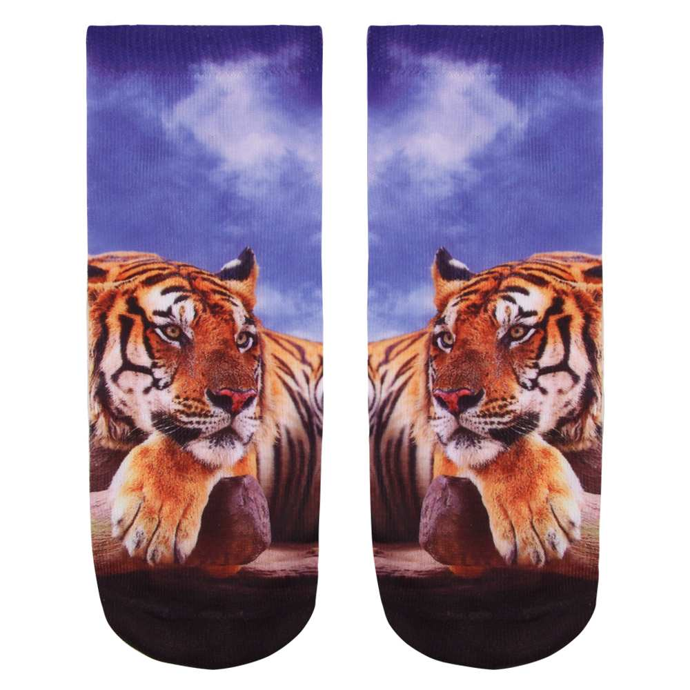 SO-L015 Motiv Socken Tiger blau orange weiss