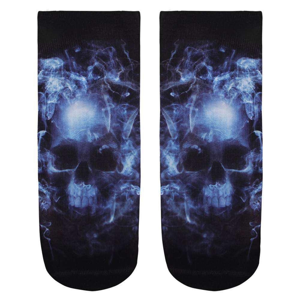SO-L029 Motiv Socken Totenkopf im Nebel schwarz blau