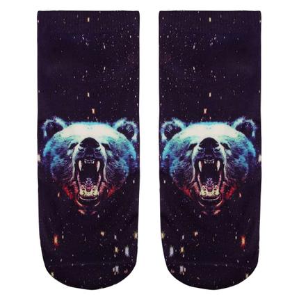 SO-L033 Motiv Socken Grizzly Bär schwarz blau rot