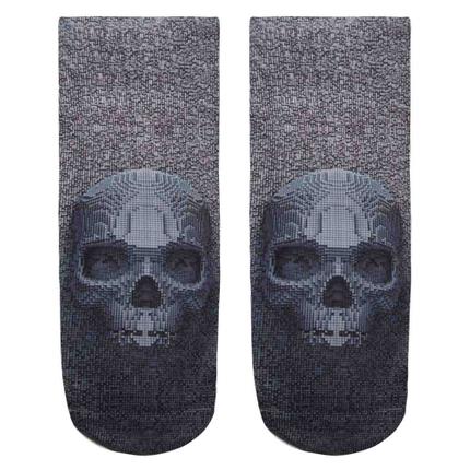 SO-L035 Motiv Socken Totenkopf Pixel grau schwarz
