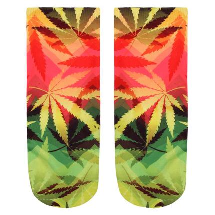 SO-L049 Motiv Socken Weed gelb grün rot