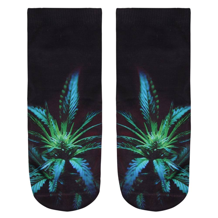 SO-L056 Motiv Socken Weed blüht schwarz grün blau