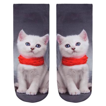 SO-L093 Motiv Socken Kätzchen grau weiss rot