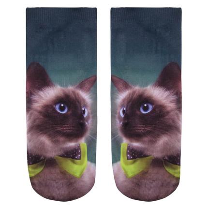SO-L097 Motiv Socken Kätzchen petrol beige grün