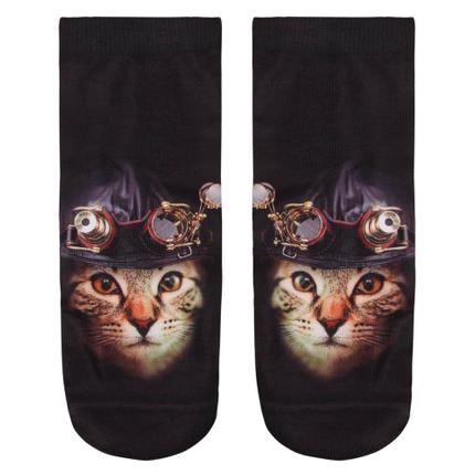 SO-L098 Motiv Socken Katze mit Haube und Brille schwarz beige rot
