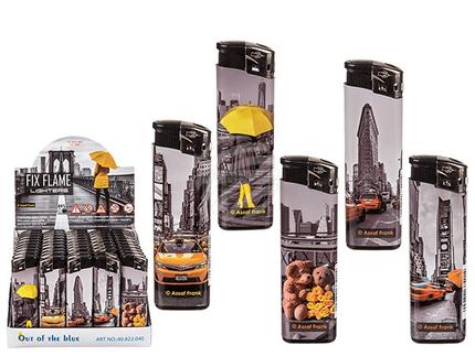 10-2326 Elektro-Feuerzeug, New York, 5-fach sortiert, 50 Stück im Display, 18000/PAL