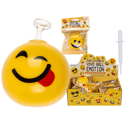 12-0938 Aufblasbarer Bubble YoYo-Ball, Emotion, bis ca. 40 cm, 6-fach sortiert, im Polybeutel mit Headercard, 12 Stück im Display