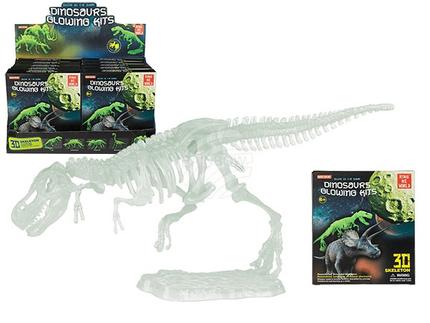 12-1319 Kunststoff-Dinosaurier-Set, leuchtet im Dunkeln, ca. 20 cm, 5-fach sortiert, 10 Stück im Display, 720/PAL