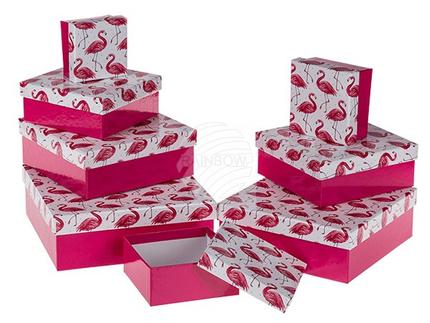 101679 Pinkfarbene Geschenkkartonage mit Flamingos, ca. 22,5 x 22,5 x 8 cm, 8er Set, einzelne EAN-Auszeichnung, 216/PAL
