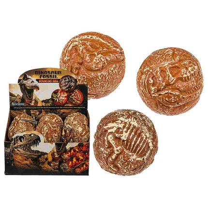 12-0936 Soft-Springball, Fossil, ca. 6,5 cm, 3-fach sortiert, 12 Stück im Display