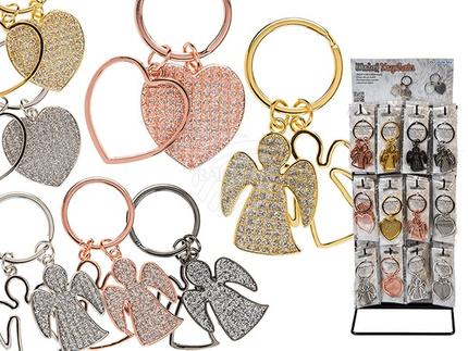 24-1103 Metall-Schlüsselanhänger, Engel & Herz, ca. 5 cm, 3-farbig & 7-fach sortiert, 60 Stück auf Display, 5040/PAL