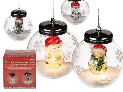 939046 Glas-Kugel mit Schneemann & Weihnachtsmann, mit warmweißer LED (inkl. Batterie) ca. 10 cm, 2-fach sortiert, in Geschenkpackung