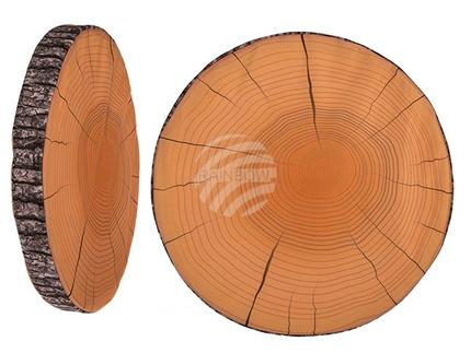 190282 Rundes Sitzkissen, Holzoptik, 100% Polyester, D: ca. 37 cm x 4 cm, ca. 148 g Füllgewicht, 144/PAL